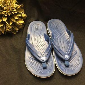 CROCS Shoes - Crocs-Blue/White Flip Flops, Size: J 1